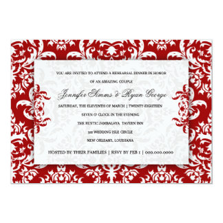 311 Jennifer Red Velvet Damask Invitation