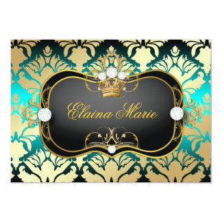 311 Jet Black Ciao Bella Aqua Sass Birthday 5x7 Paper Invitation Card