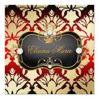 311 Jet Black Ciao Bella Cherry Sass Metallic Gold 5.25x5.25 Square Paper Invitation Card