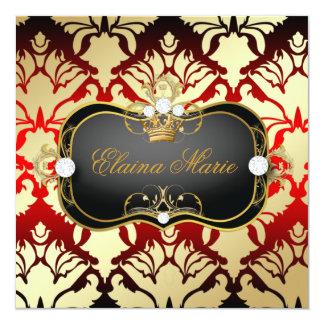 311 Jet Black Ciao Bella Cherry Sass Sweet Sixteen 5.25x5.25 Square Paper Invitation Card