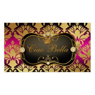 311 Jet Black Ciao Bella Pink Sass Metallic Gold Business Card Template