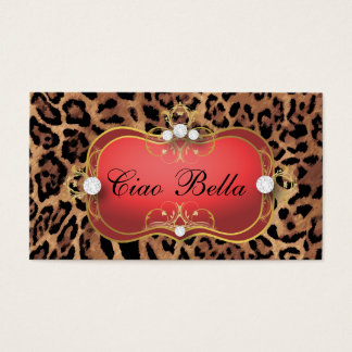 311 Jet Red Ciao Bella Black Tan Leopard Business Card