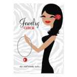 311 Jewelry Chick | Wavy Hair Black Flower Large Business Card