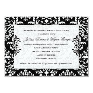 311 Jillian Black Damask Invitation