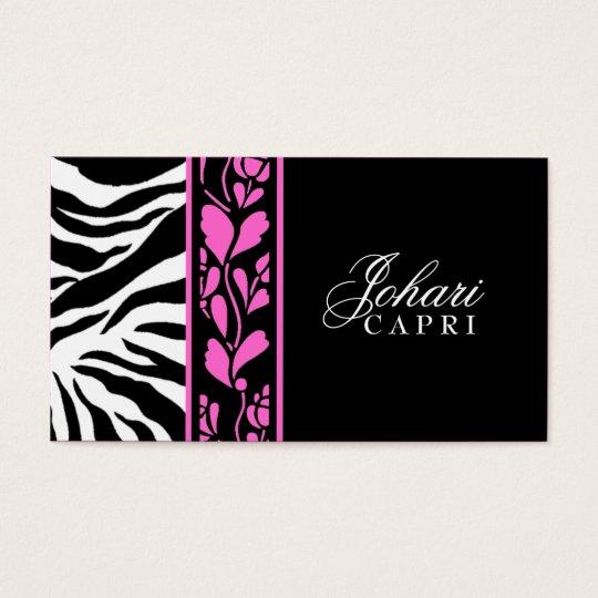 311-Johari Hott Pink Zebra & Flower Business Card