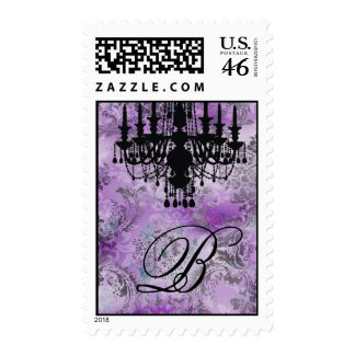 311-Jolie Chandelier Purple Gray Damask Postage Stamps