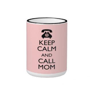 311 Keep Calm and Call Mom Peach Mother s Day Mug