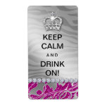 311 Keep Calm Funny Wine Label Diva Pink Glitter Shipping Label