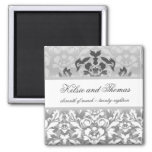 311-Kelsie Silver Glam w/ Crown Save the Date 2 Inch Square Magnet