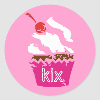 311-Kickin' Cupcake Strawberry Classic Round Sticker