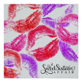 311 Kiss Smooch Kiss Sweet Sixteen Colorful Invite