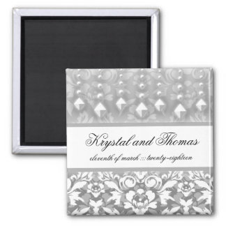 311-Krystal Glam Silver w/ Crystals Save Date 2 Inch Square Magnet