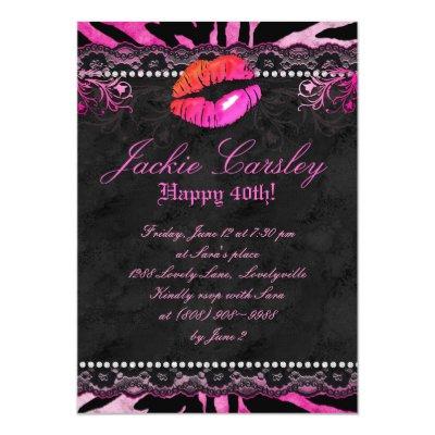 Fashion Party Zebra Lace Invite Pink Square Zazzlecom