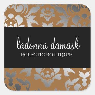311 Ladonna Damask Bronze Square Sticker