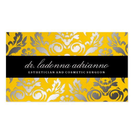 311 Ladonna Damask Lemon Business Cards