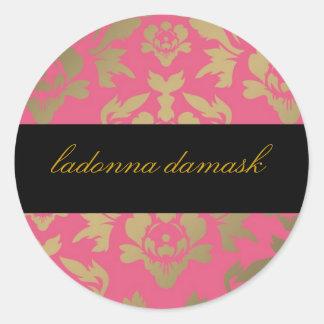 311 Ladonna Damask Pink Classic Round Sticker