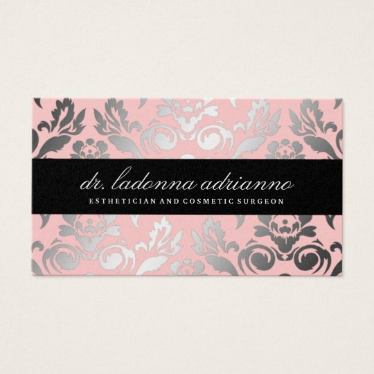 311 Ladonna Damask Powder Pink Business Card
