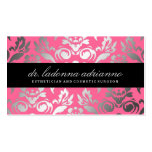 311-Ladonna Damask Rose Pink Business Card Templates