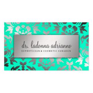 311 Ladonna Damask Silver Caribbean Blue Business Card