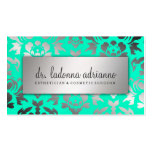 311 Ladonna Damask Silver Caribbean Blue Double-Sided Standard Business Cards (Pack Of 100)