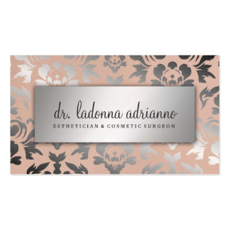 311 Ladonna Damask Silver  Peachy Pink Business Card