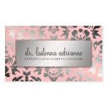 311 Ladonna Damask Silver Powder Pink Business Card Templates