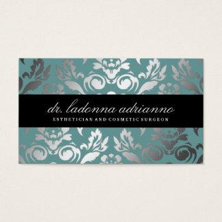 311 Ladonna Damask Teal Blue Business Card