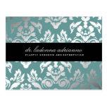 311 Ladonna Damask Teal Blue Postcard