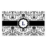 311-Lauren Damask Monogram | Black Business Card