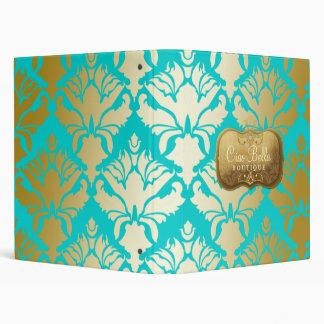 311 Lavish Golden Damask Shimmer Turquoise 3 Ring Binder