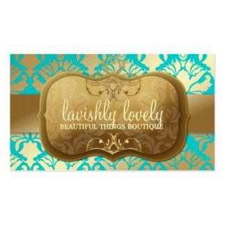 311 Lavish Golden Damask Shimmer Turquoise Business Cards