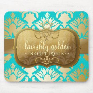 311 Lavish Golden Damask Shimmer Turquoise Mouse Pads