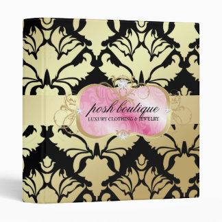 311 Lavish Pink Platter & Damask Shimmer Golden 3 Ring Binder