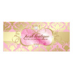311 Lavish Pink Platter & Damask Shimmer Golden Customized Rack Card