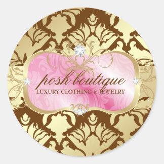 311 Lavish Pink Platter & Damask Shimmer Golden Round Stickers