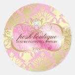 311 Lavish Pink Platter & Damask Shimmer Golden Round Sticker