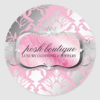 311-Lavish Pink Platter & Damask Shimmer Posh Pink Classic Round Sticker