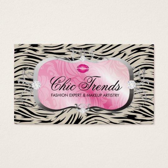 311 Lavish Pink Platter with Lips Hip Zebra Business Card