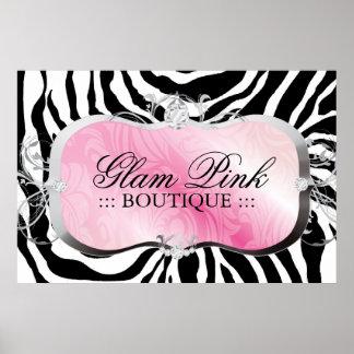 311 Lavish Pink Platter Zebra Silver Poster
