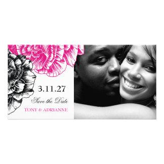 311-Le Plush Fleur - Pink & Black Save the Date Card