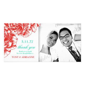 311-Le Plush Fleur - Red 7 Turquiose Thank you Custom Photo Card