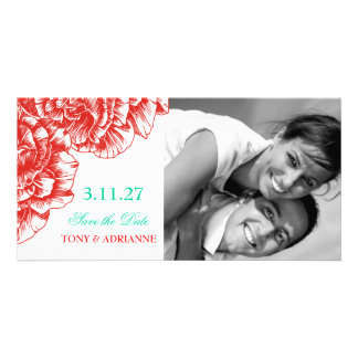311-Le Plush Fleur - Rouge & Turquoi Save the Date Card