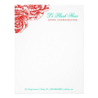 311-Le Plush Fleur - Rouge & Turquoise Letterhead