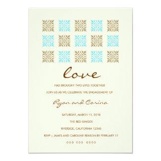 311 Leaf of Love Blue & Gold Engagement. Card