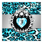 "311 Leopard-Tique Kiss Queen of Hearts Sweet16 5.25"" Square Invitation Card"