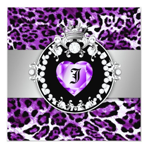311 Leopard-Tique Queen of Hearts Sweet16 Hot Purp Card