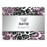311-Leopard-Tique Queen of Hearts Sweet 16 RSVP Card