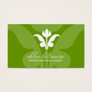 311 Lime Floral Flare Business Card