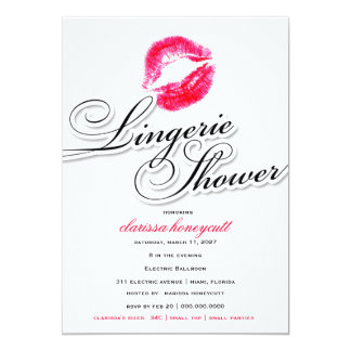 311-Lingerie Shower - Candy Red Kisses Custom Invitations