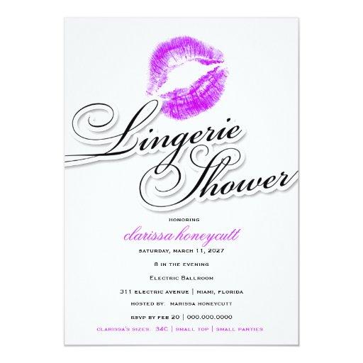311-Lingerie Shower - Purple Kisses Personalized Invitation